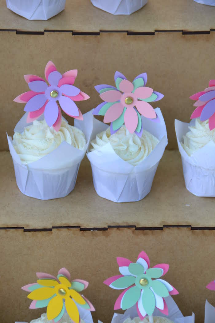 Paper Flower-topped Cupcakes from a Wild ONE Bohemian Picnic 1st Birthday Party on Kara's Party Ideas | KarasPartyIdeas.com (20)