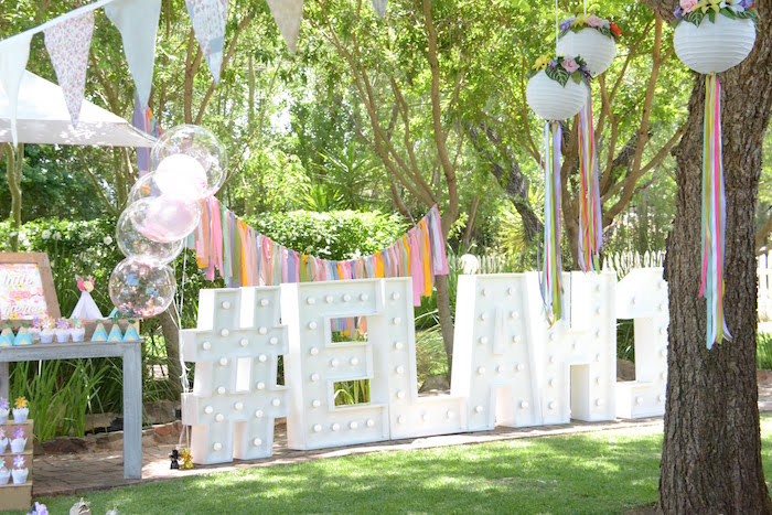 White Marquee Lettering from a Wild ONE Bohemian Picnic 1st Birthday Party on Kara's Party Ideas | KarasPartyIdeas.com (11)