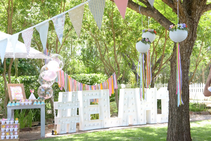 Bohemian Party Decor + Bunting from a Wild ONE Bohemian Picnic 1st Birthday Party on Kara's Party Ideas | KarasPartyIdeas.com (10)
