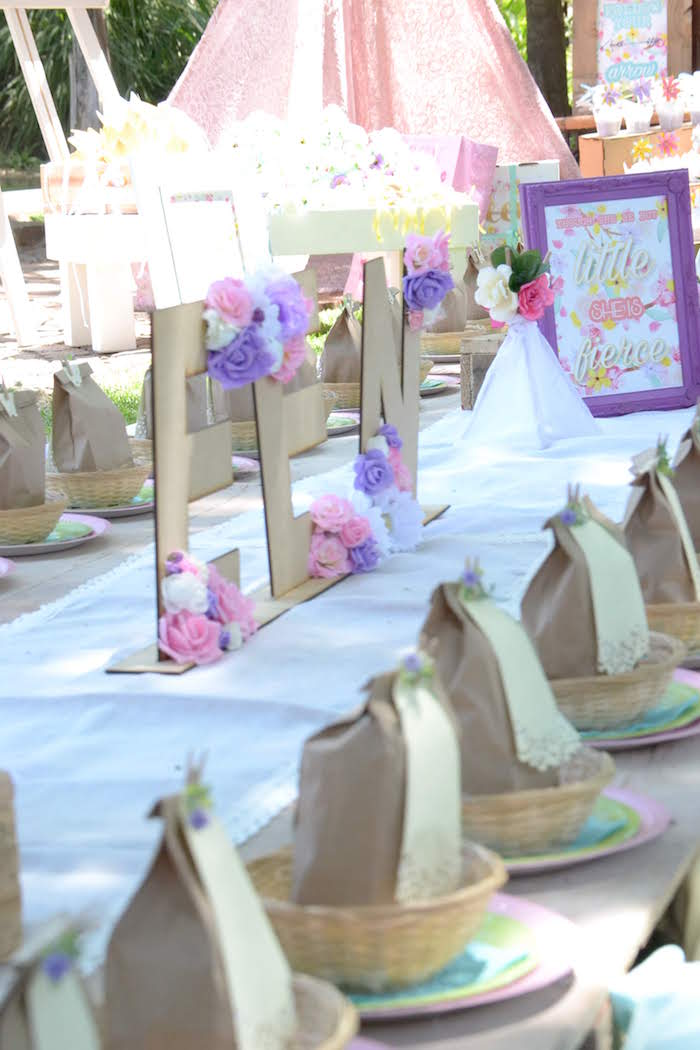 Boho Picnic Table from a Wild ONE Bohemian Picnic 1st Birthday Party on Kara's Party Ideas | KarasPartyIdeas.com (7)