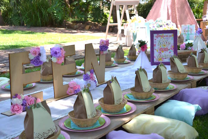 Boho Picnic Table from a Wild ONE Bohemian Picnic 1st Birthday Party on Kara's Party Ideas | KarasPartyIdeas.com (28)