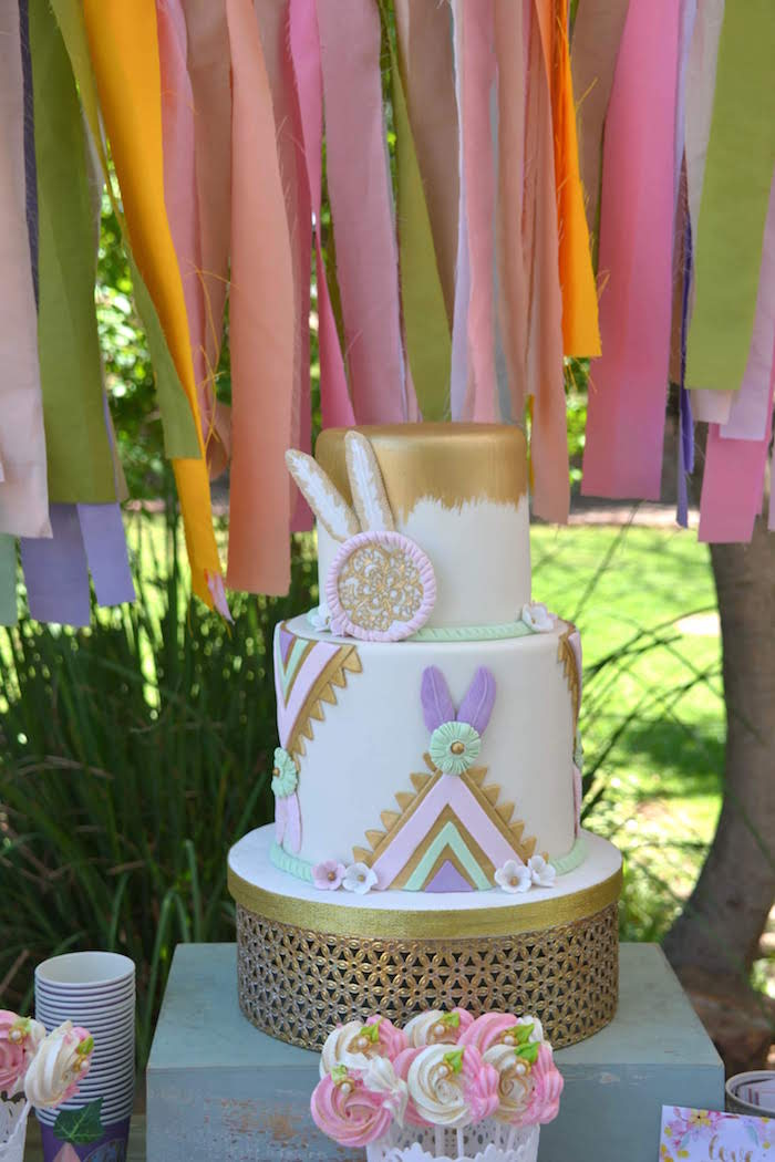 Boho Cake from a Wild ONE Bohemian Picnic 1st Birthday Party on Kara's Party Ideas | KarasPartyIdeas.com (24)