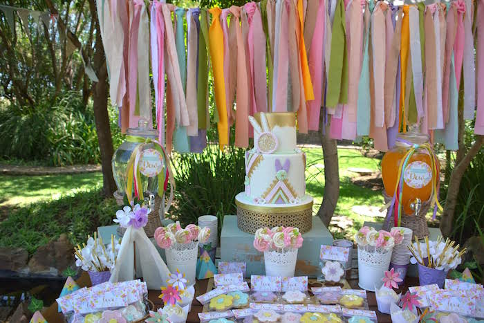 Bohemian-inspired Dessert Table from a Wild ONE Bohemian Picnic 1st Birthday Party on Kara's Party Ideas | KarasPartyIdeas.com (23)