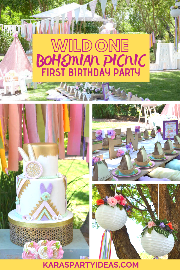Wild ONE Bohemian Picnic 1st Birthday Party via Kara's Party Ideas - KarasPartyIdeas.com