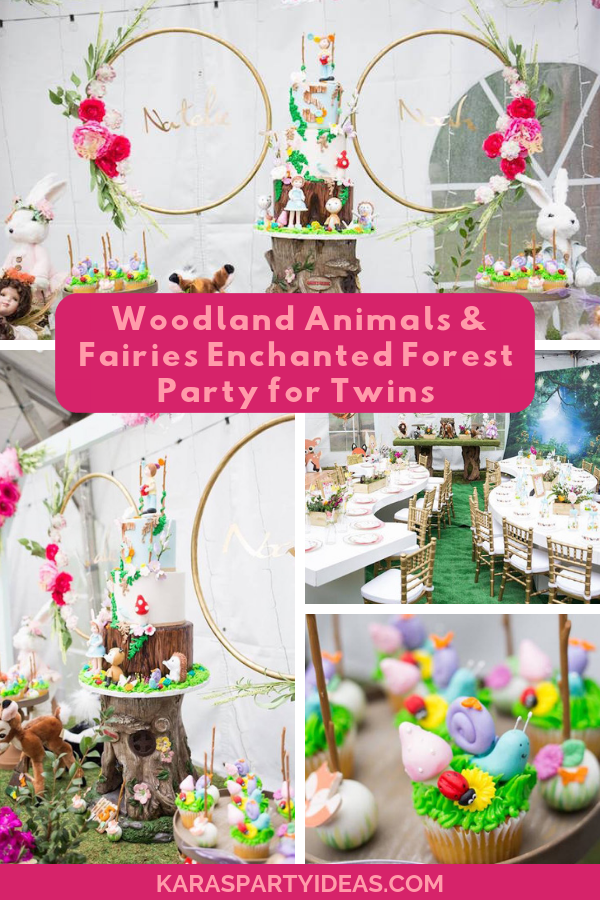 Woodland Animal & Fairies Enchanted Forest Party for Twins via Kara's Party Ideas - KarasPartyIdeas.com