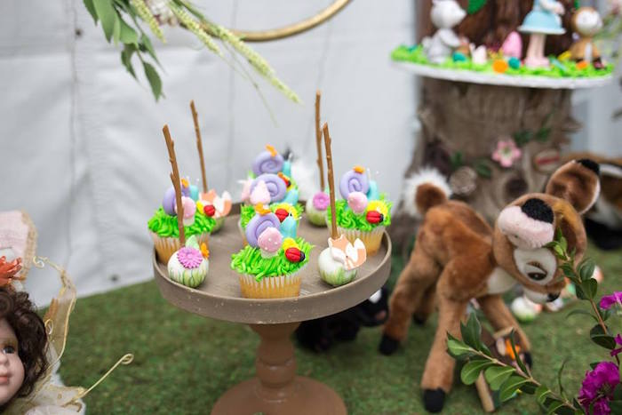 Woodland Cupcakes + Cake Pops from a Woodland Animals & Fairies Enchanted Forest Party for Twins on Kara's Party Ideas | KarasPartyIdeas.com (22)