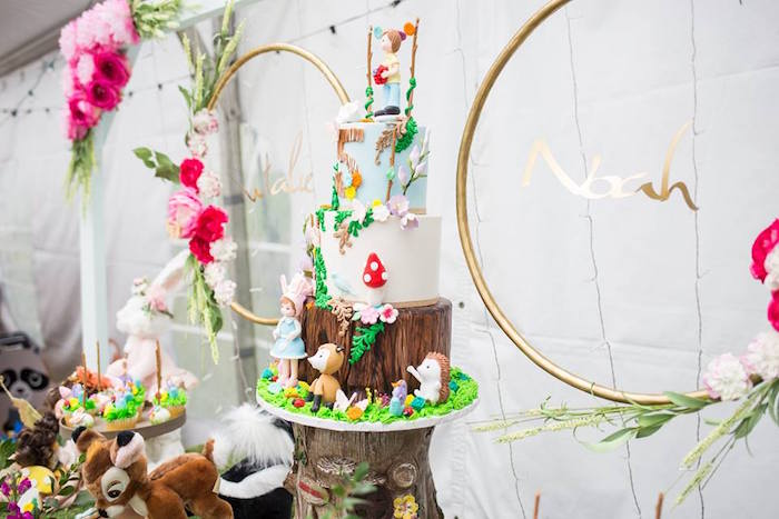 Woodland Cake from a Woodland Animals & Fairies Enchanted Forest Party for Twins on Kara's Party Ideas | KarasPartyIdeas.com (26)