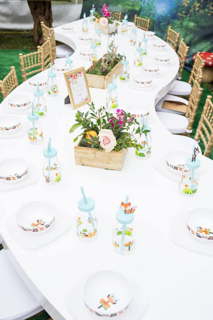 Woodland Party Table from a Woodland Animals & Fairies Enchanted Forest Party for Twins on Kara's Party Ideas | KarasPartyIdeas.com (24)