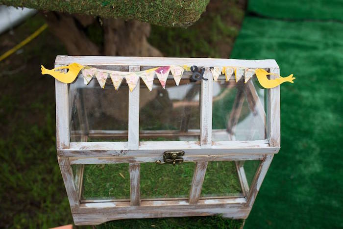 Wood-framed Glass Card Box from a Woodland Animals & Fairies Enchanted Forest Party for Twins on Kara's Party Ideas | KarasPartyIdeas.com (23)