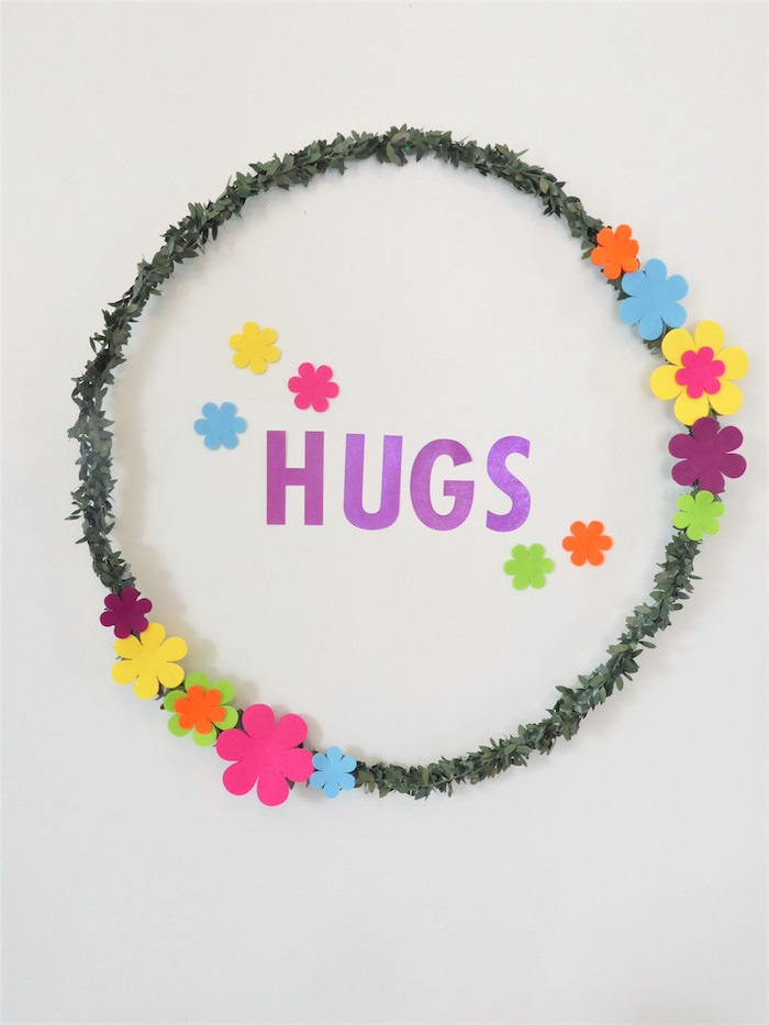 Trolls-inspired Hugs Wreath from a Trolls Themed Spa Party for Girls on Kara's Party Ideas | KarasPartyIdeas.com