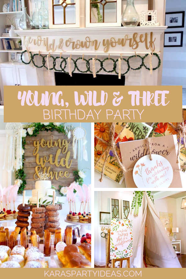 YOUNG, WILD and THREE Birthday Party via KarasPartyIdeas - KarasPartyIdeas.com
