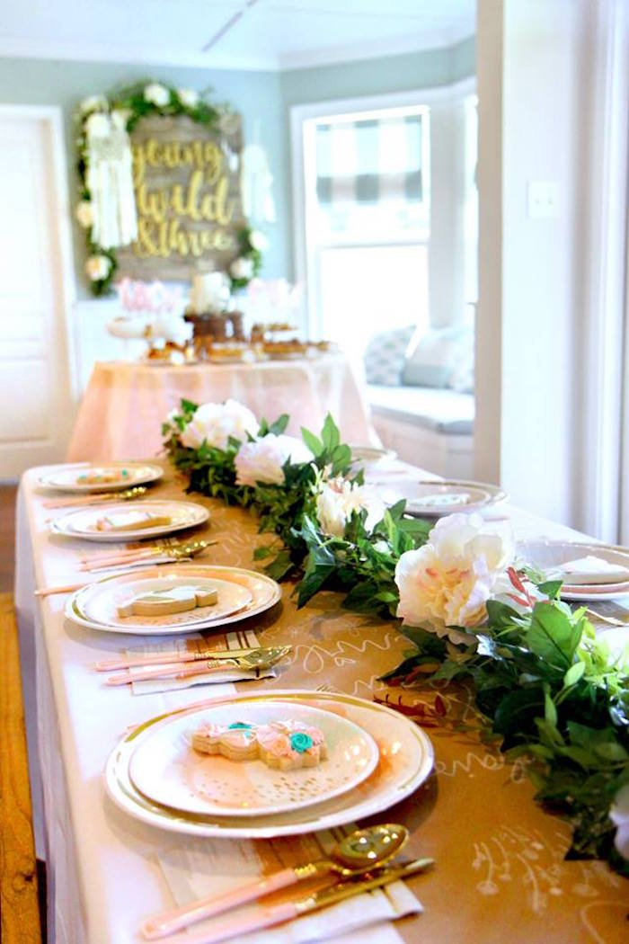 Boho Glam Dining Table Settings + Tablescape from a Young, Wild & Three Birthday Party on Kara's Party Ideas | KarasPartyIdeas.com (27)