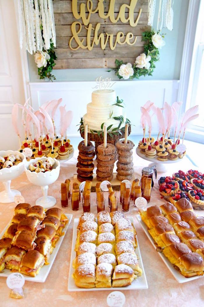 Breakfast Themed Dessert Table from a Young, Wild & Three Birthday Party on Kara's Party Ideas | KarasPartyIdeas.com (22)