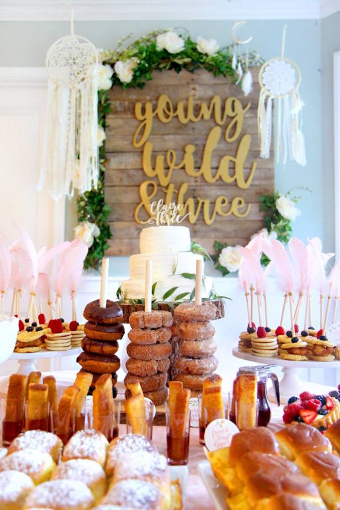 Breakfast-inspired Sweet Table from a Young, Wild & Three Birthday Party on Kara's Party Ideas | KarasPartyIdeas.com (20)