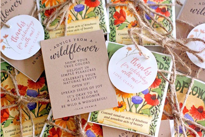 Wildflower Favor Packets + Tags from a Young, Wild & Three Birthday Party on Kara's Party Ideas | KarasPartyIdeas.com (16)