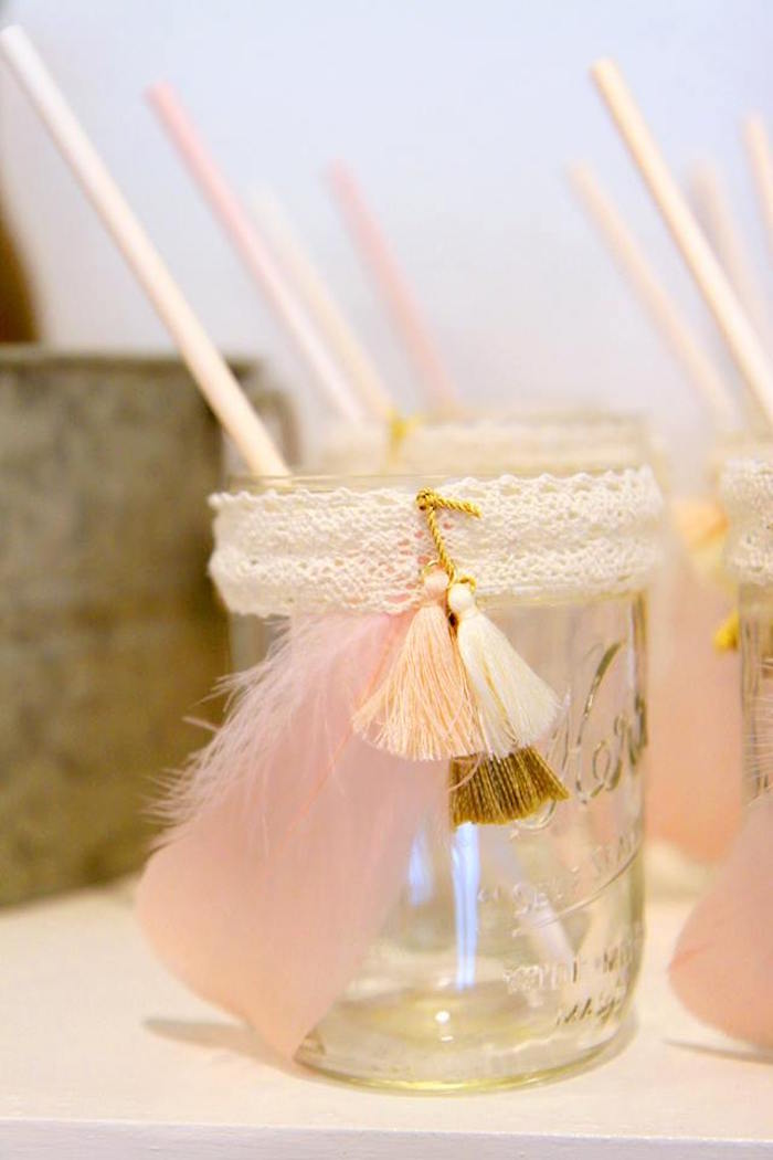 Lace, Tassel and Feather-adorned Mason Jar Cup from a Young, Wild & Three Birthday Party on Kara's Party Ideas | KarasPartyIdeas.com (15)
