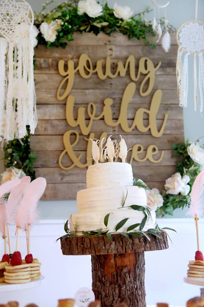 White Boho Cake from a Young, Wild & Three Birthday Party on Kara's Party Ideas | KarasPartyIdeas.com (14)