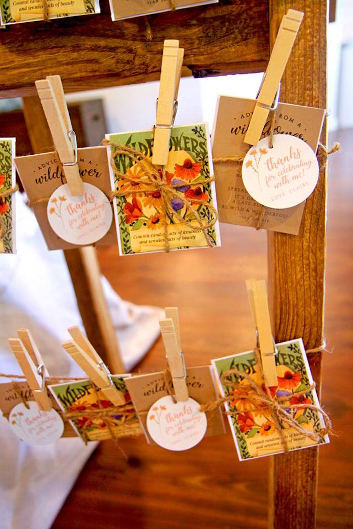 Wildflower Favor Packets from a Young, Wild & Three Birthday Party on Kara's Party Ideas | KarasPartyIdeas.com (11)