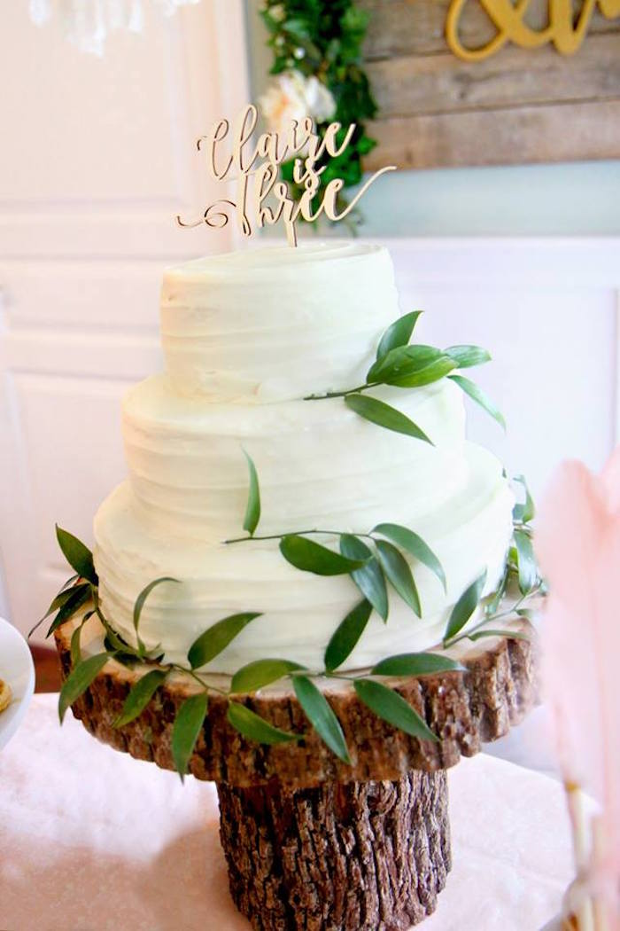 Three-tiered White Cake from a Young, Wild & Three Birthday Party on Kara's Party Ideas | KarasPartyIdeas.com (9)