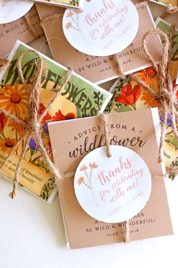Wildflower Seed Favor Packets from a Young, Wild & Three Birthday Party on Kara's Party Ideas | KarasPartyIdeas.com (30)