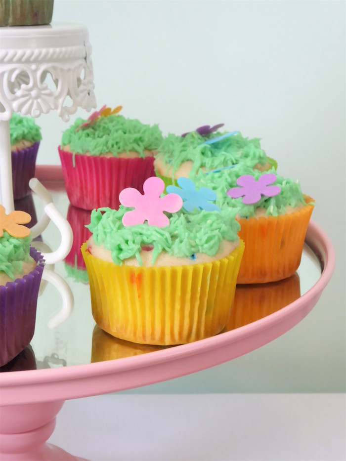 Trolls-inspired Cupcakes from a Trolls Themed Spa Party for Girls on Kara's Party Ideas | KarasPartyIdeas.com