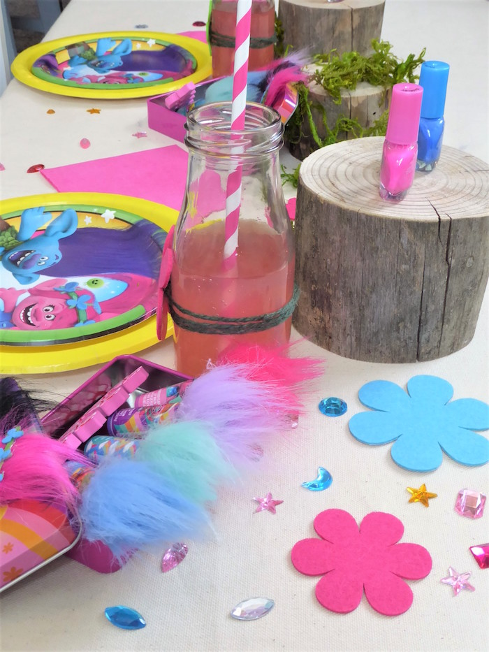 Flowers and gems from a Trolls Themed Spa Party for Girls on Kara's Party Ideas | KarasPartyIdeas.com