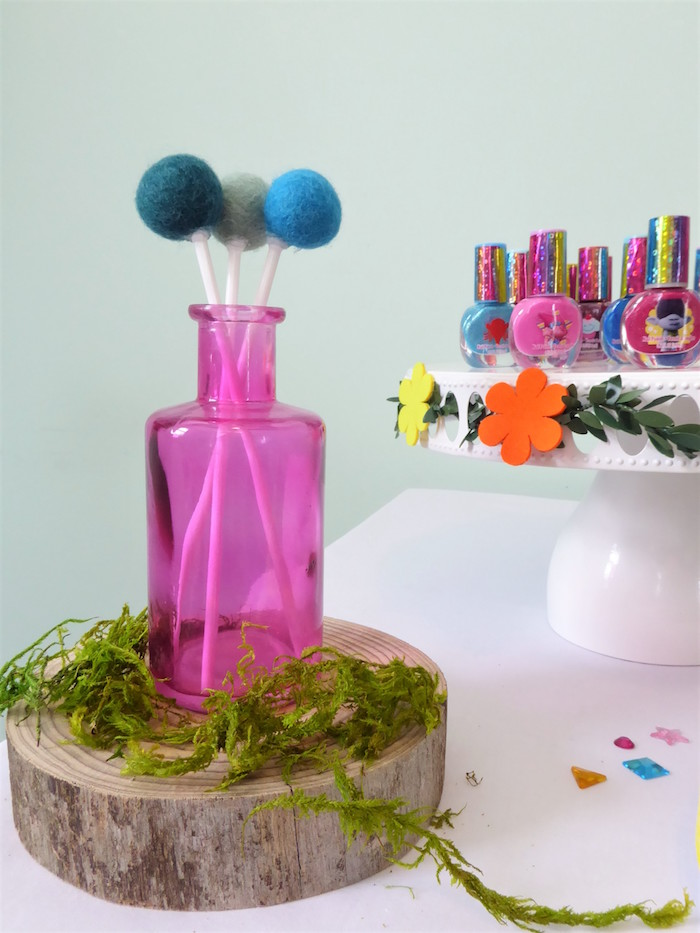 Felt Pom Ball Table Centerpiece from a Trolls Themed Spa Party for Girls on Kara's Party Ideas | KarasPartyIdeas.com