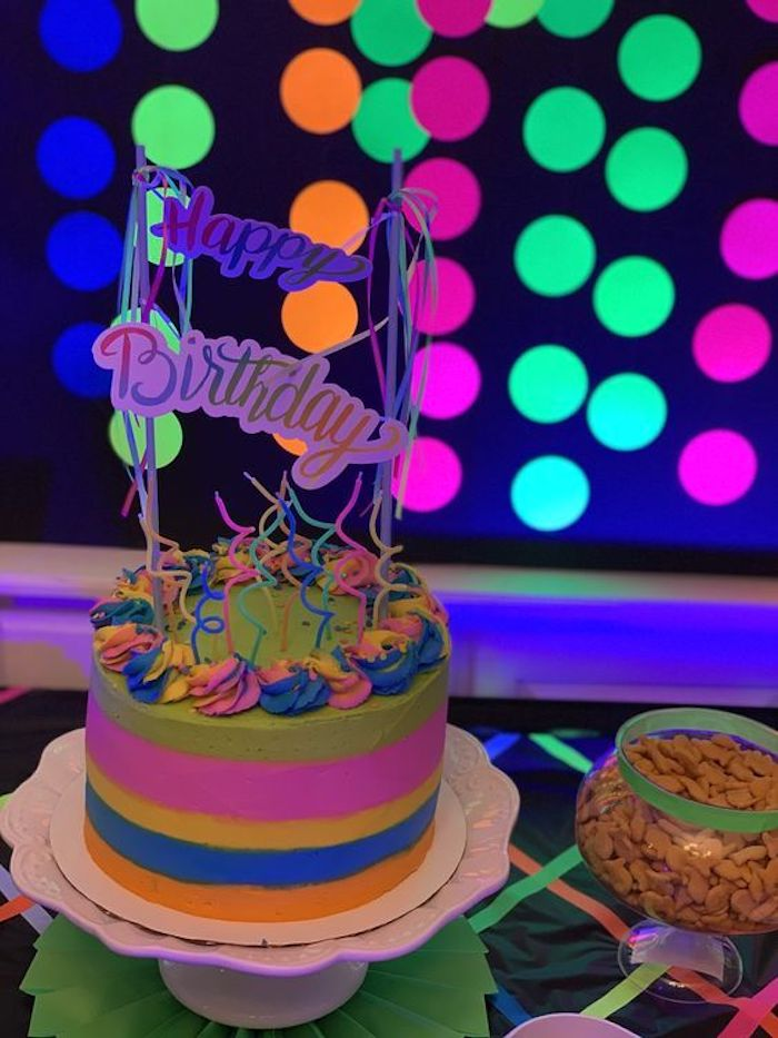 "Neon Rainbow Birthday Cake from a ""Get Your Glow On"" Birthday Party on Kara's Party Ideas 