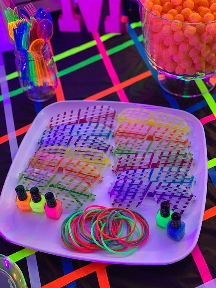 "Neon ""Glow"" Gear from a ""Get Your Glow On"" Birthday Party on Kara's Party Ideas 