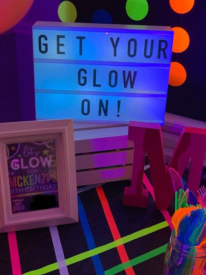 "Get Your Glow On! - Light Box Sign from a ""Get Your Glow On"" Birthday Party on Kara's Party Ideas 