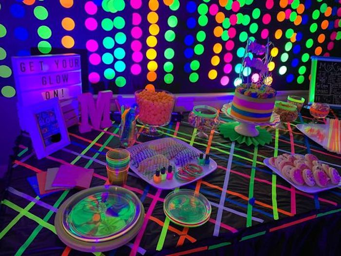 "Glow in the Dark Dessert Table from a ""Get Your Glow On"" Birthday Party on Kara's Party Ideas 