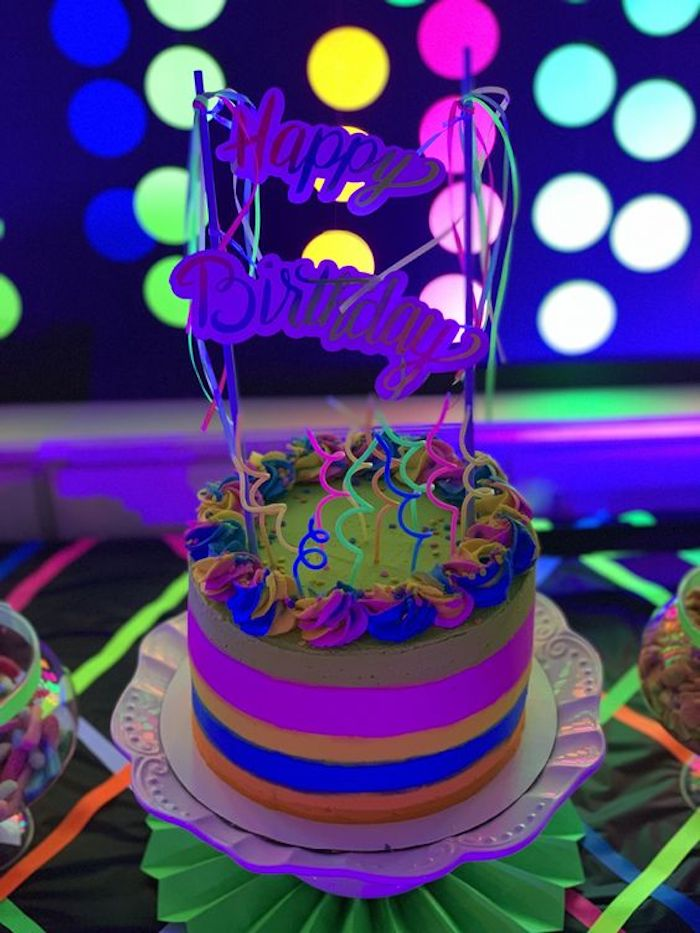 "Neon Glow in the Dark Birthday Cake from a ""Get Your Glow On"" Birthday Party on Kara's Party Ideas 