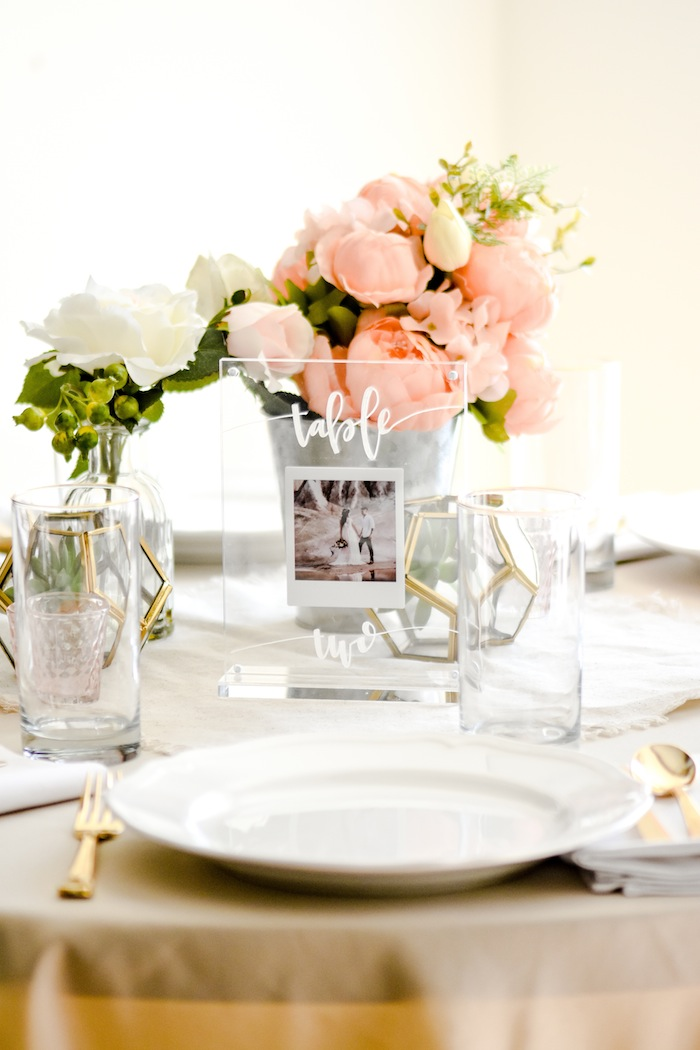 Modern Acrylic Wedding Photo Centerpiece or Table Number Ideas