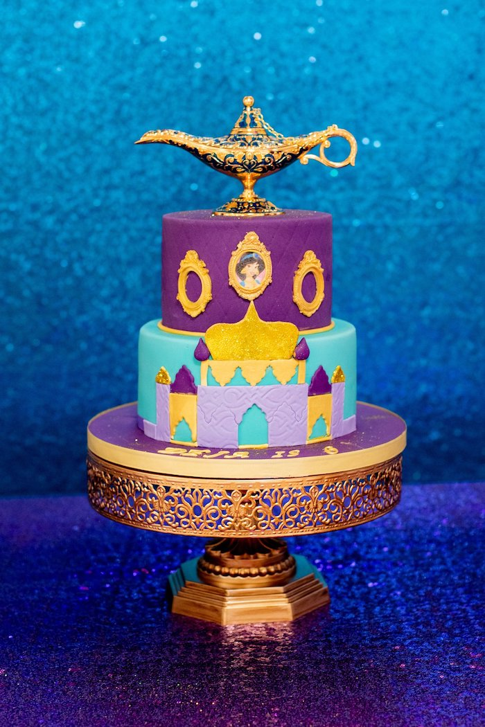 Aladdin-inspired Birthday Cake from an Aladdin Birthday Party on Kara's Party Ideas | KarasPartyIdeas.com (14)