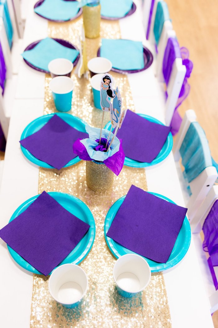 Purple + Turquoise Table Settings from an Aladdin Birthday Party on Kara's Party Ideas | KarasPartyIdeas.com (11)