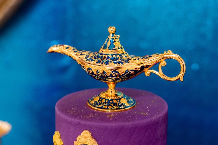 Genie Lamp Cake Topper from an Aladdin Birthday Party on Kara's Party Ideas | KarasPartyIdeas.com (10)