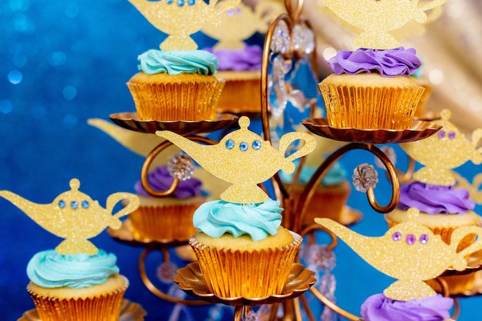 Genie Lamp Cupcakes from an Aladdin Birthday Party on Kara's Party Ideas | KarasPartyIdeas.com (9)
