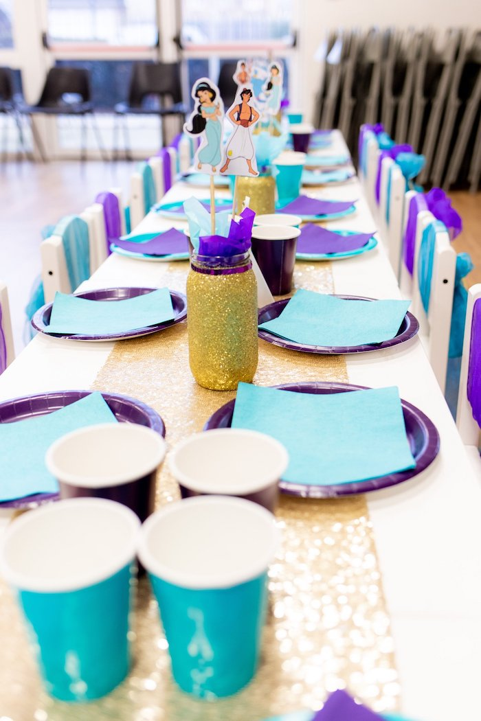 Guest Table from an Aladdin Birthday Party on Kara's Party Ideas | KarasPartyIdeas.com (8)