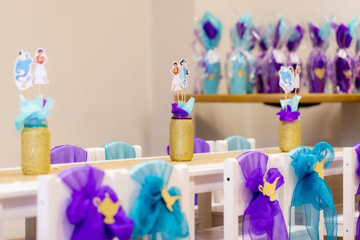 Genie Lamp Chair Ties from an Aladdin Birthday Party on Kara's Party Ideas | KarasPartyIdeas.com (6)