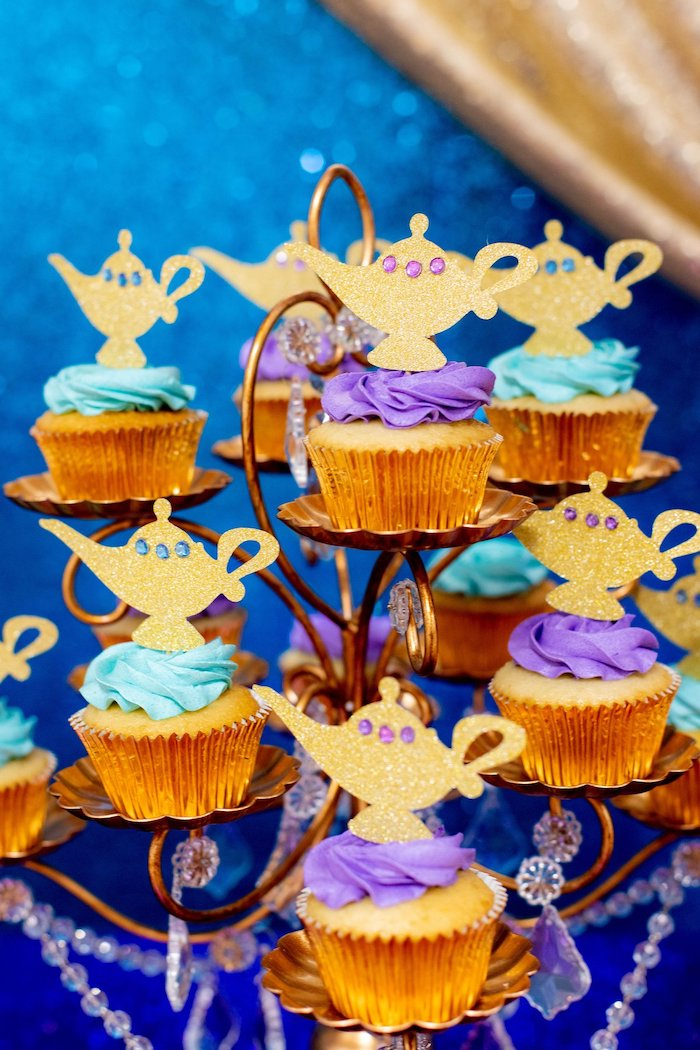 Genie Lamp Cupcakes from an Aladdin Birthday Party on Kara's Party Ideas | KarasPartyIdeas.com (24)