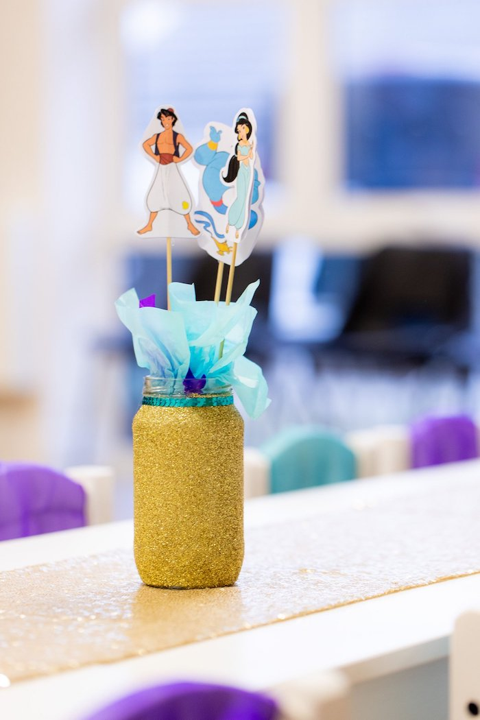 Aladdin-inspired Glitter Mason Jar Table Centerpiece from an Aladdin Birthday Party on Kara's Party Ideas | KarasPartyIdeas.com (21)