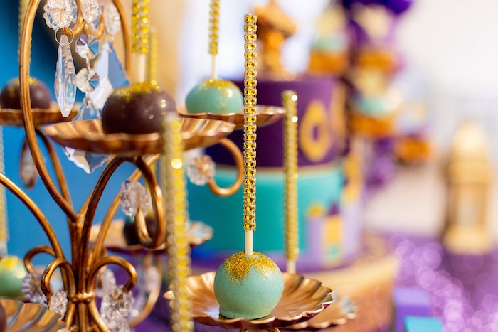 Aladdin-inspired Cake Pop from an Aladdin Birthday Party on Kara's Party Ideas | KarasPartyIdeas.com (20)