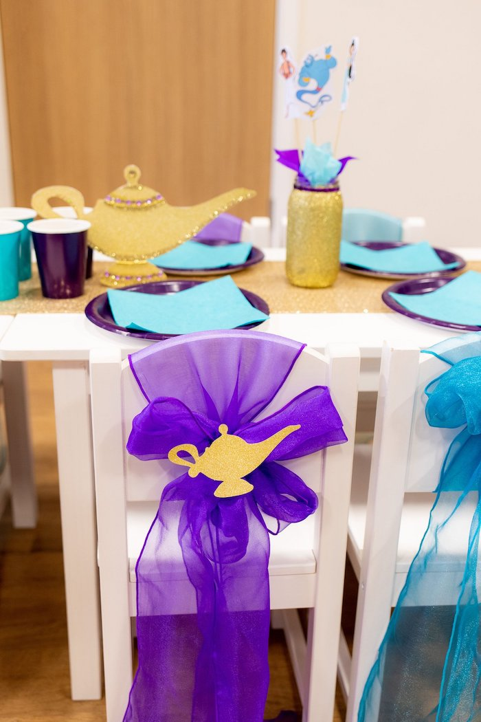 Genie Lap Chair Tie from an Aladdin Birthday Party on Kara's Party Ideas | KarasPartyIdeas.com (19)