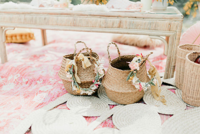 Floral-crowned Boho Baskets from an Alpaca Love Birthday Party on Kara's Party Ideas | KarasPartyIdeas.com (47)