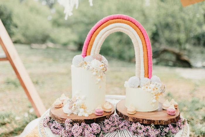 Boho Rainbow Cake from an Alpaca Love Birthday Party on Kara's Party Ideas   KarasPartyIdeas.com (40)