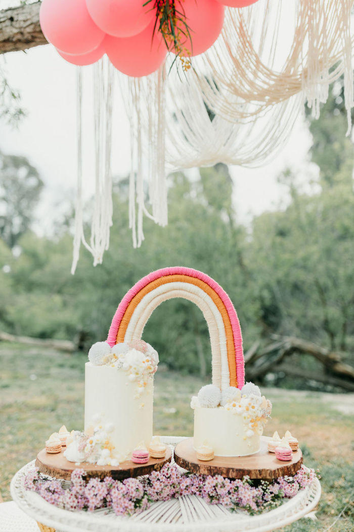 Boho Rainbow Cake from an Alpaca Love Birthday Party on Kara's Party Ideas | KarasPartyIdeas.com (55)