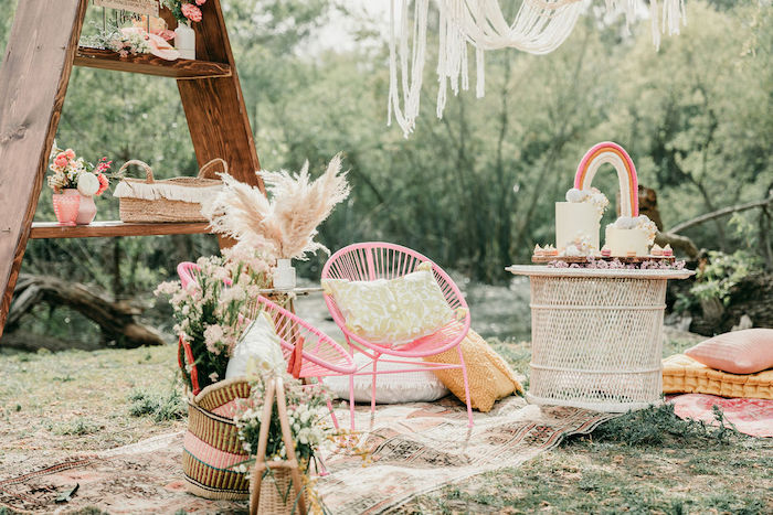 Modern Pink Wicker Chairs from an Alpaca Love Birthday Party on Kara's Party Ideas | KarasPartyIdeas.com (19)