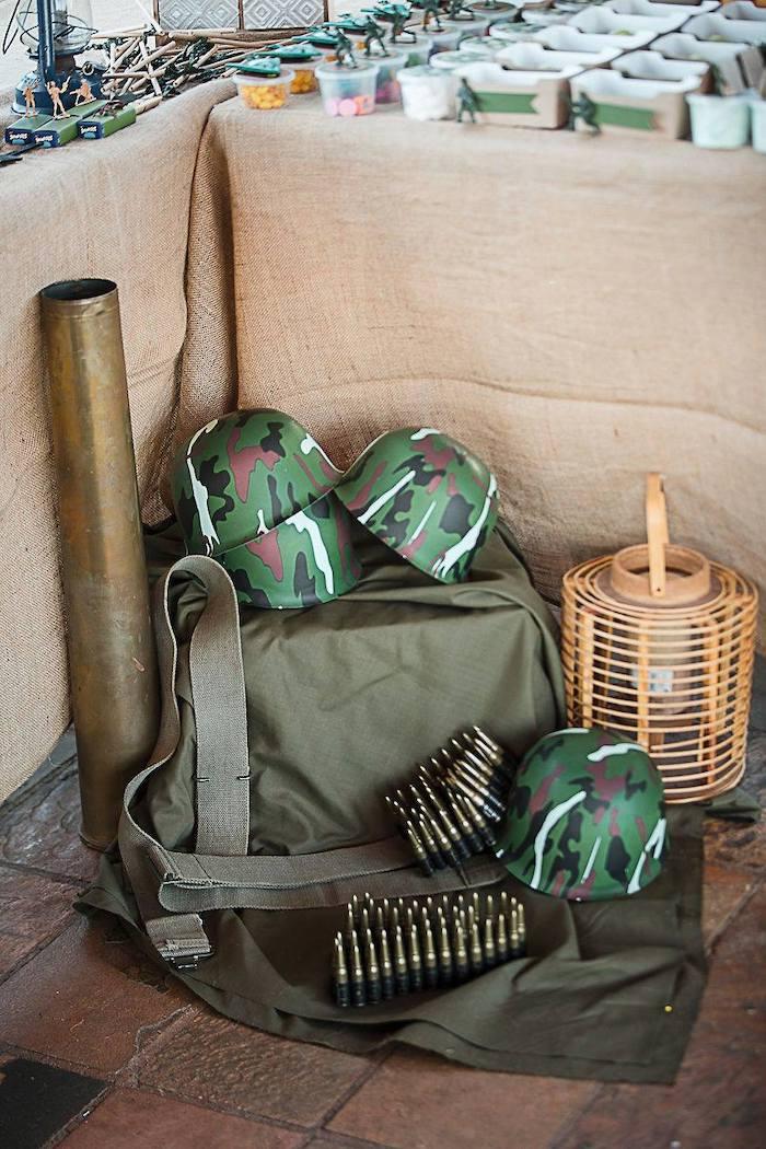 Army Gear Decor + Props from an Army Military Birthday Party on Kara's Party Ideas | KarasPartyIdeas.com (16)