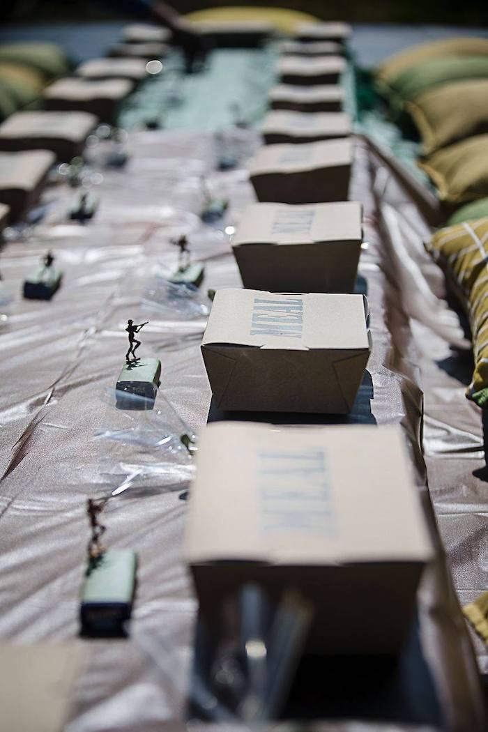 Army Themed MEAL Box Table Settings from an Army Military Birthday Party on Kara's Party Ideas | KarasPartyIdeas.com (27)
