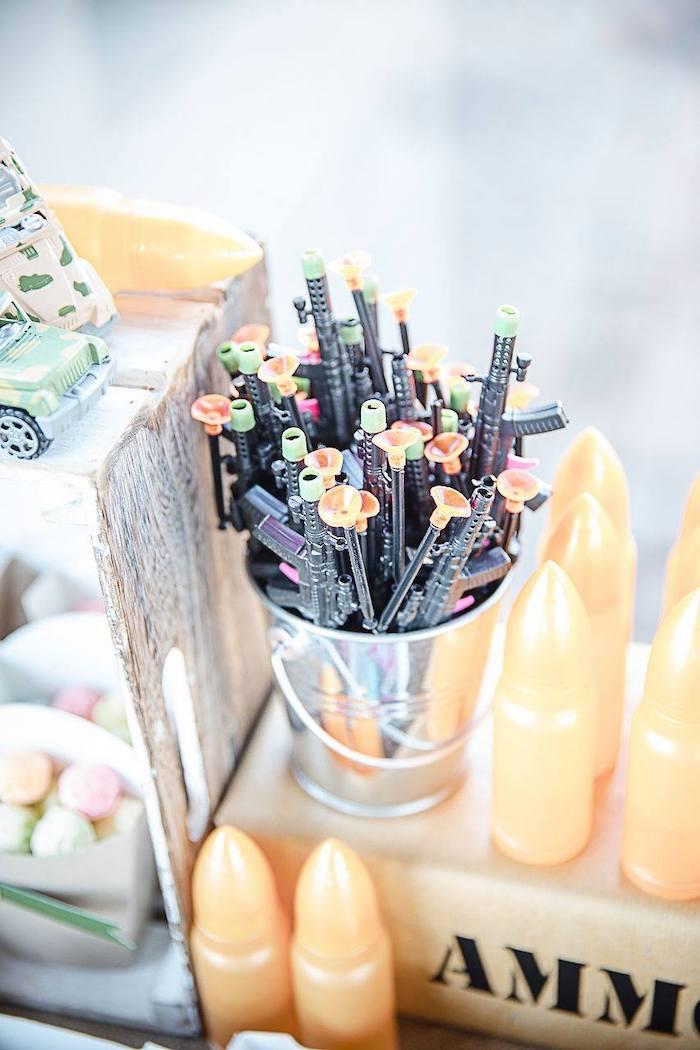 Mini Gun Favor Bucket from an Army Military Birthday Party on Kara's Party Ideas | KarasPartyIdeas.com (8)